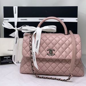 Authentic Chanel Quilted Caviar With Top Handle